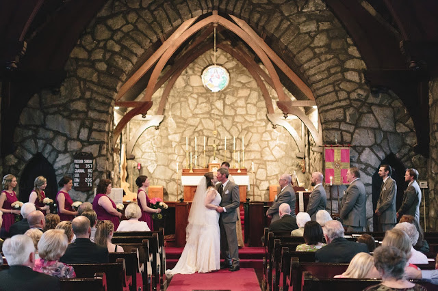 Wedding Ceremony Bride and Groom Kiss