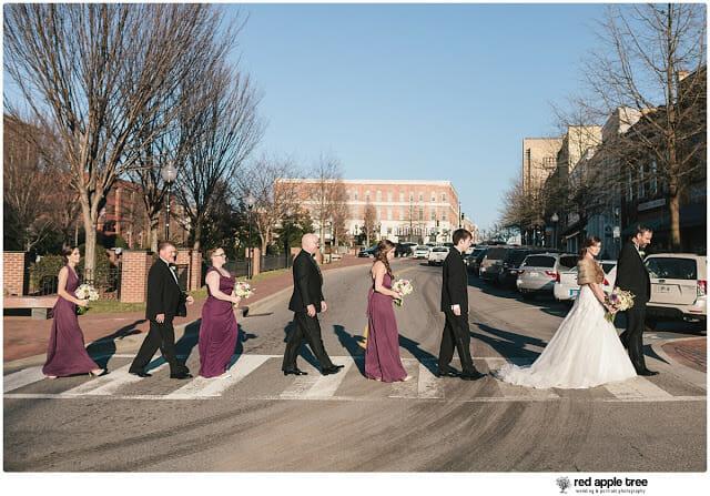 Wedding Portrait Bridal Party walking across street