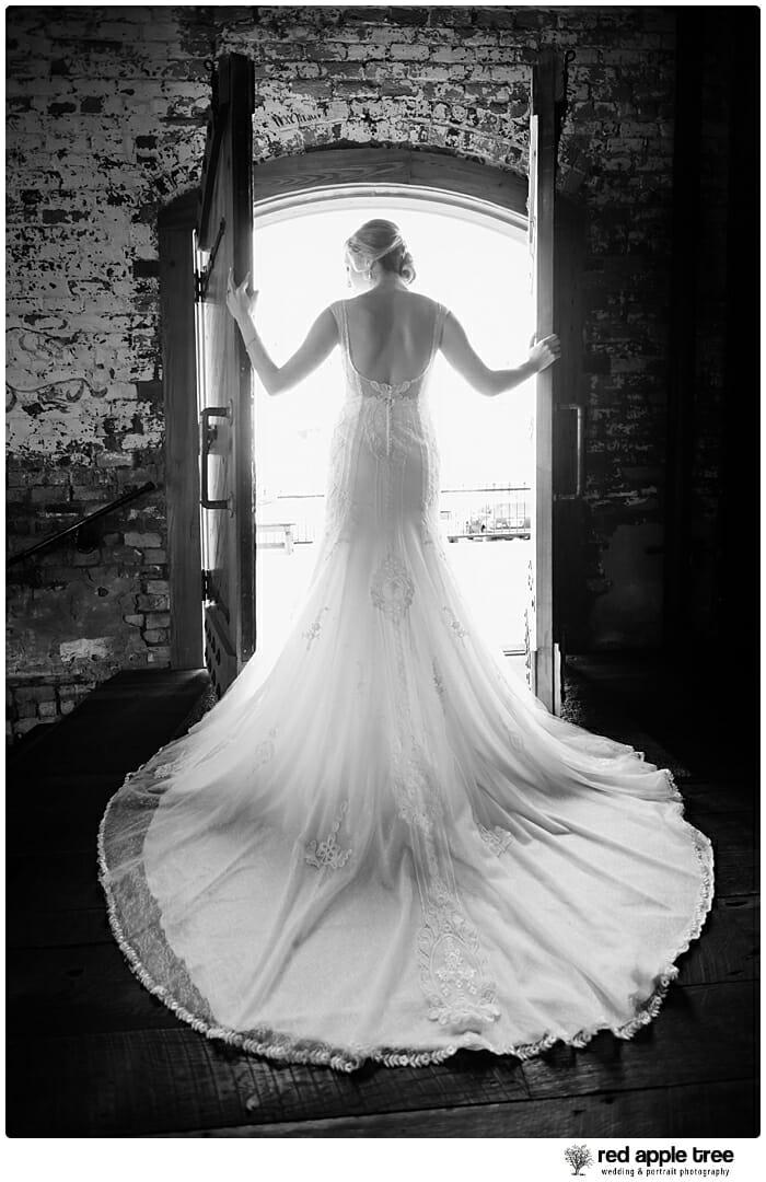 Bride in Wedding Dress at door