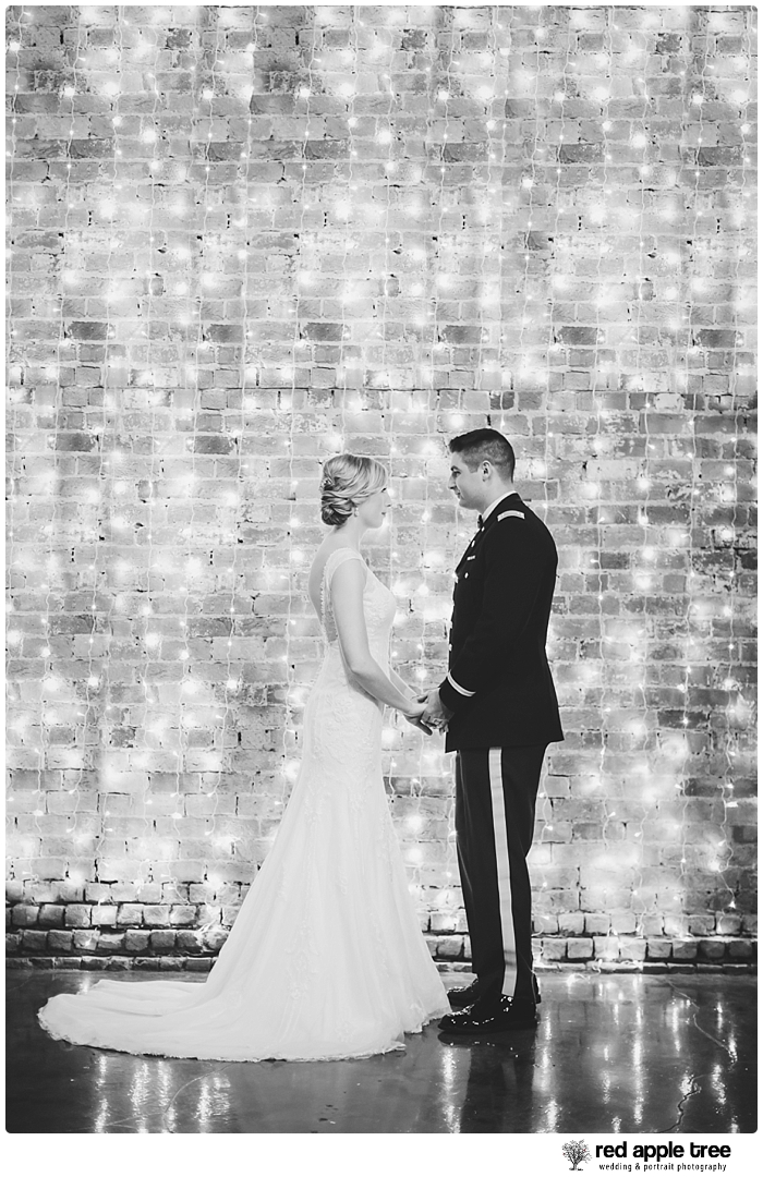 Black and White Wedding Portrait with Bride and Groom