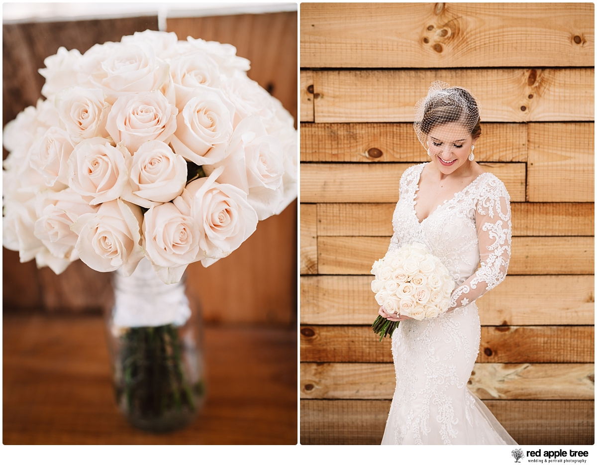 Wedding Portrait of Bride and Flower Bouquet