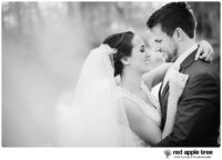 Black and White Wedding Portrait of Bride and Groom 1